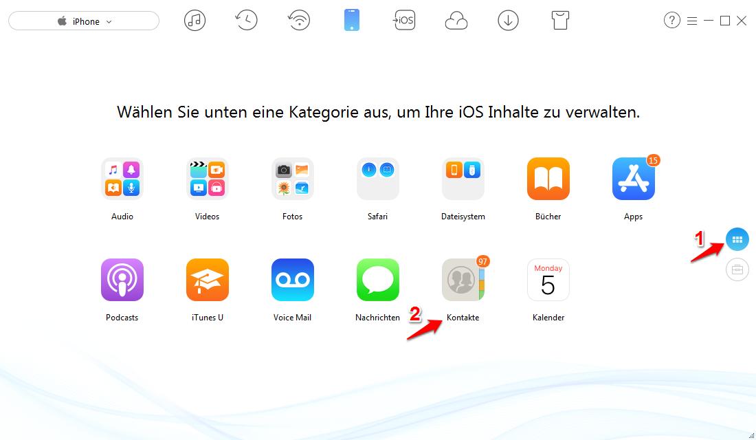 Teilweise iPhone Kontakte sichern auf PC – Schritt 1