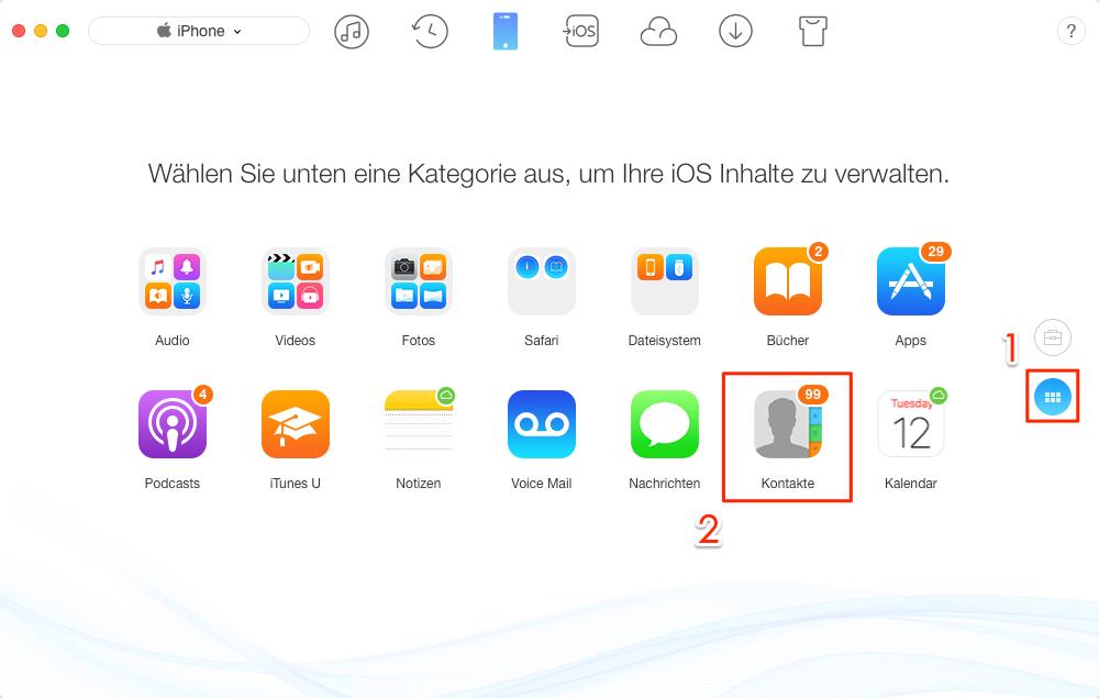 iPhone Kontakte sichern mit AnyTrans – Schritt 2