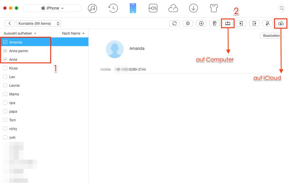 Auf Computer oder iCloud! iPhone Kontakte sichern – Schritt 3