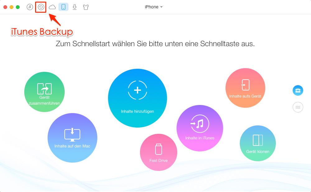 AnyTrans starten und iTunes-Backup auswählen – Schritt 1