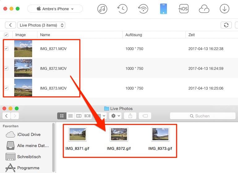 Live Foto vom iPhone als GIF konvertieren – Schritt 4