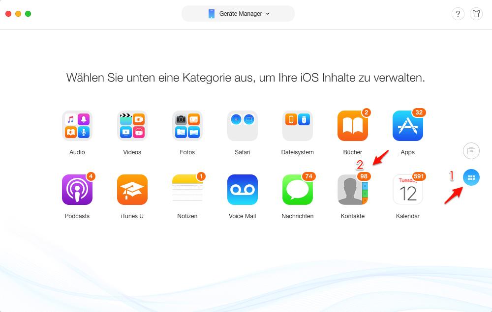 iPhone Mehrere Kontakte löschen – Schritt 2