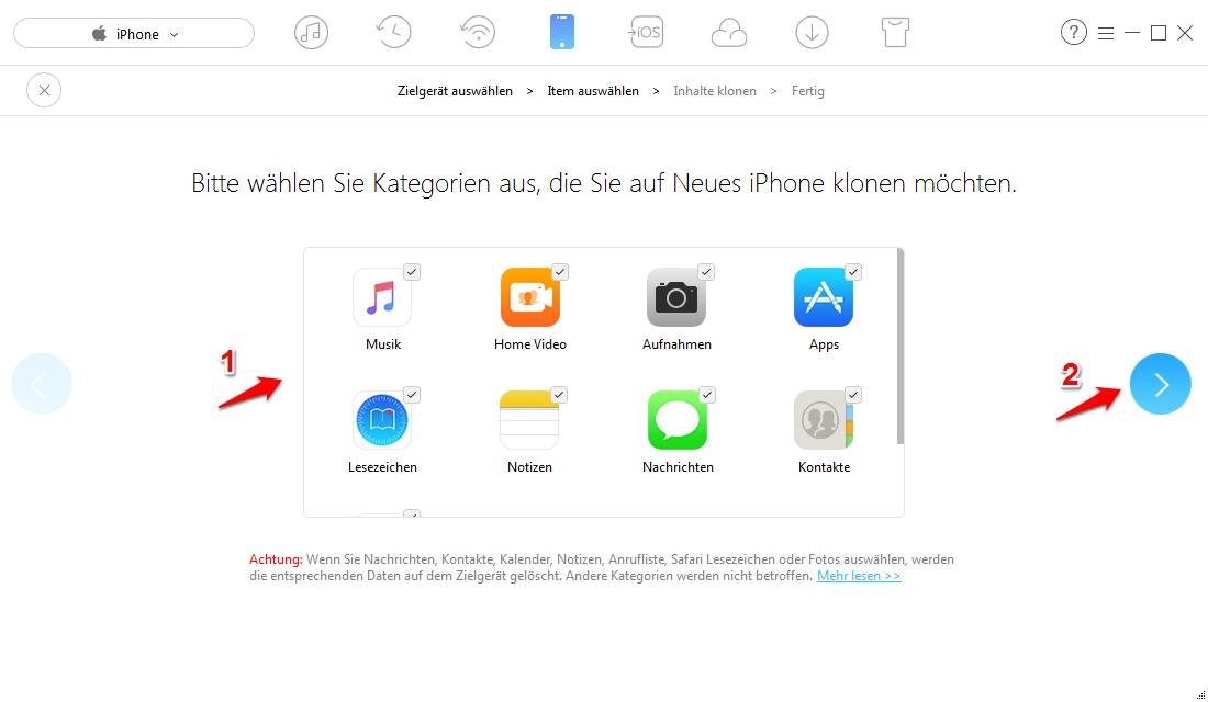iPhone mit iPad synchronisieren einfacher - Schritt 3