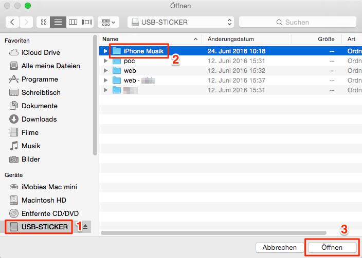 iPhone oder iPad Musik auf USB-Stick übertragen - Schritt 5