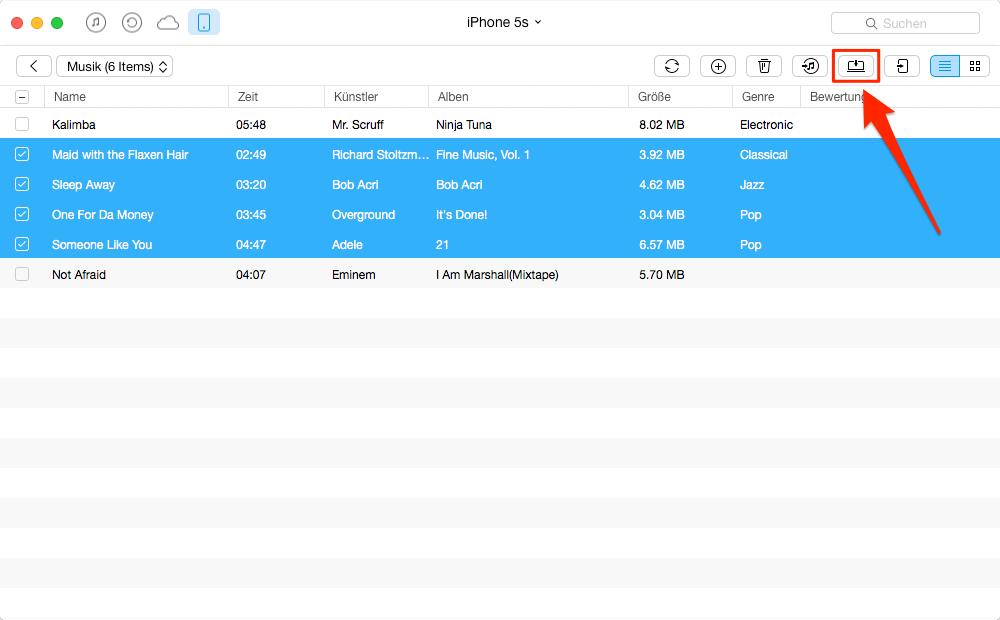 iPhone Musik auf USB Stick übertragen, ohne iTunes – Schritt 4