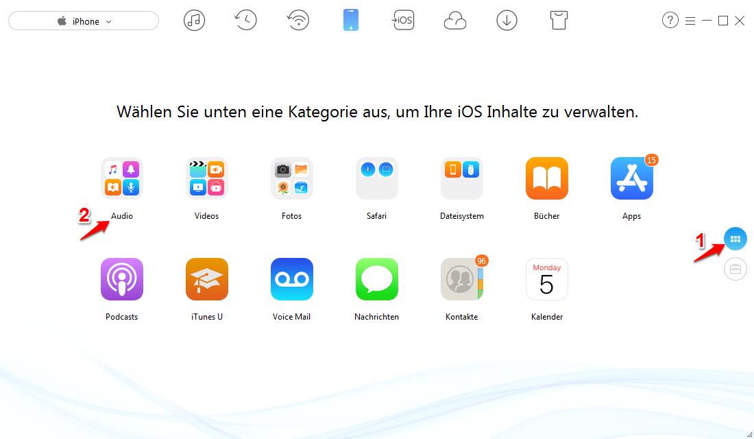 iPhone Musik synchronisieren ohne iTunes – Schritt 1