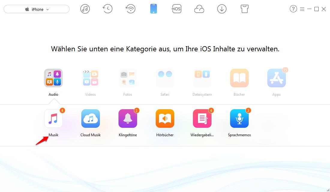 iPhone Musik ohne iTunes synchronisieren – Schritt 2