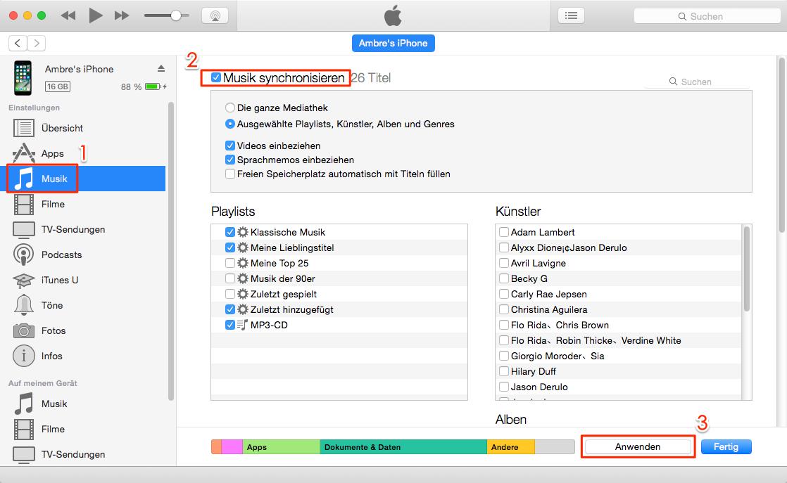 Musik mit iTunes-Mediathek wiederherstellen – iPhone Musik weg unter iOS 11/11.1