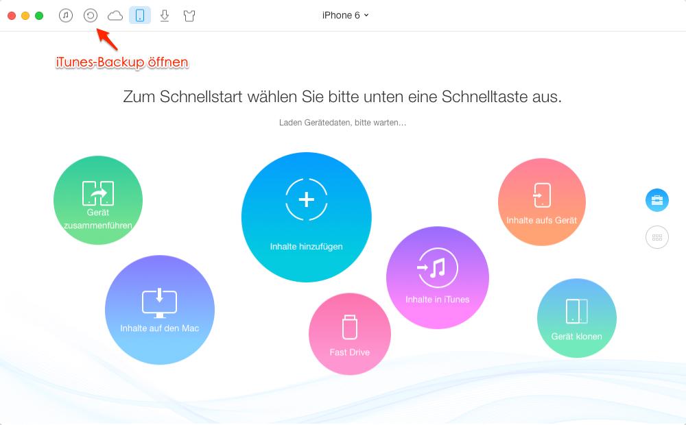 AnyTrans öffnen und iTunes-Backup öffnen – Schritt 1