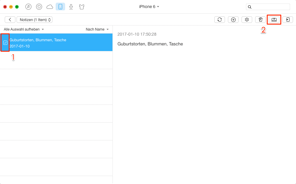Notizen vom iPhone auf Computer sichern – Schritt 2