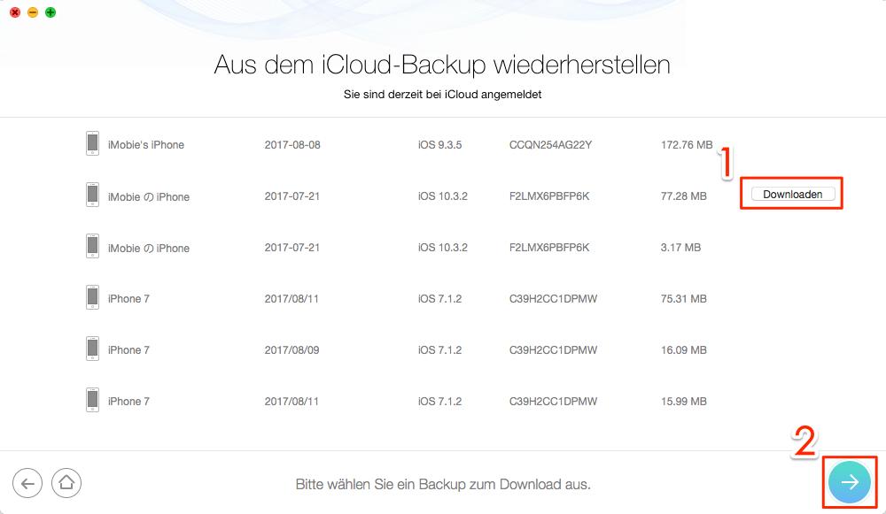 iCloud Backup auswählen – Schritt 3
