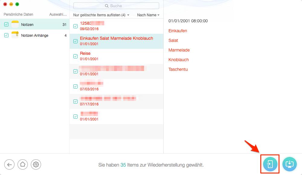 iPhone verschwundene Notizen aus iCloud-Backup wiederherstellen – Schritt 5
