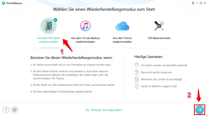 iPhone Notizen wiederherstellen – PhoneRescue starten
