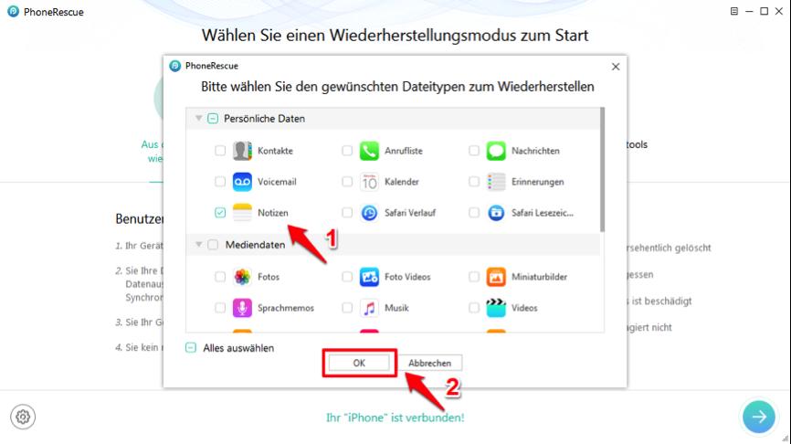 Gelöschte Notizen wiederherstellen iPhone – nur Notizen aktivieren