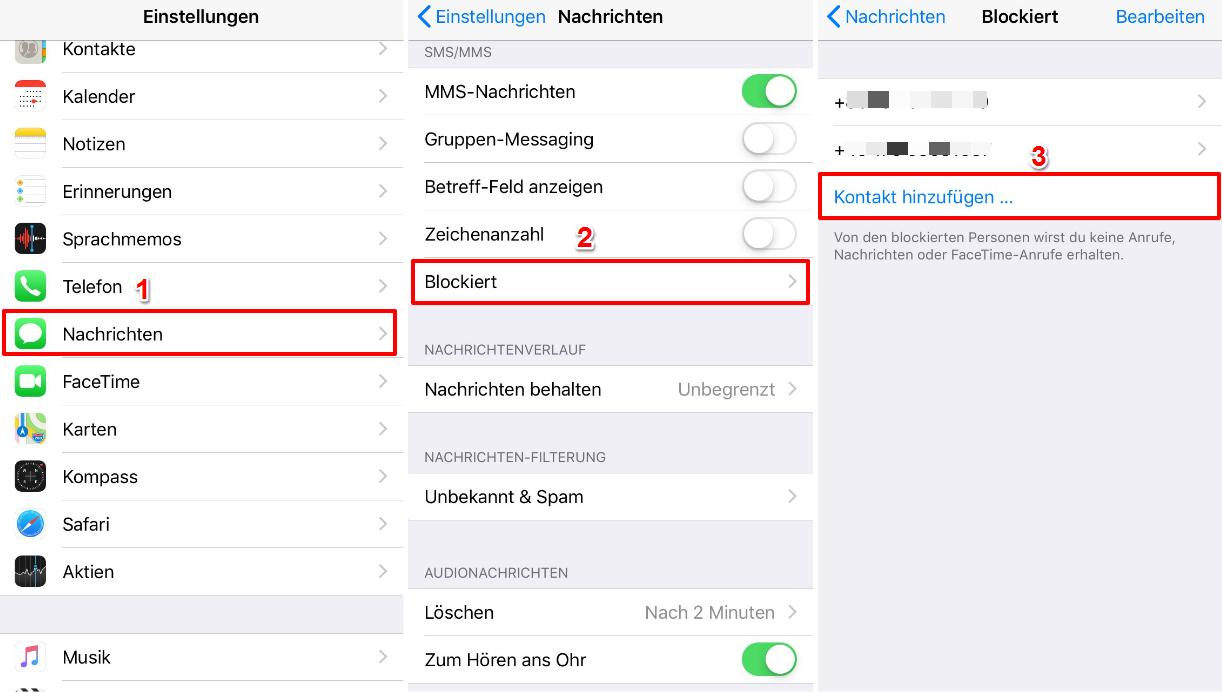 iPhone Nummer blockieren – In Einstellungen App Nachrichten