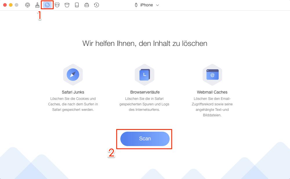 PhoneClean öffnen und Internet Clean wählen – Schritt 1