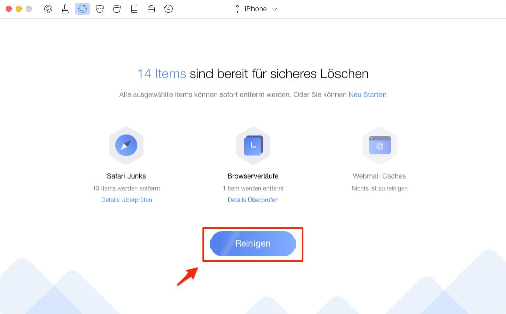 iPhone Safari Caches und Cookies mit PhoneClean überprüfen – Schritt 3