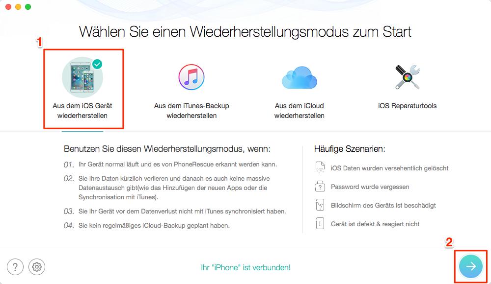 iPhone/iPad Browserverlauf wiederherstellen – Schritt 2