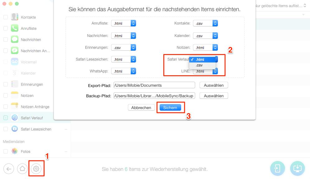 Safari Verlauf wiederherstellen: Safari Format auswählen