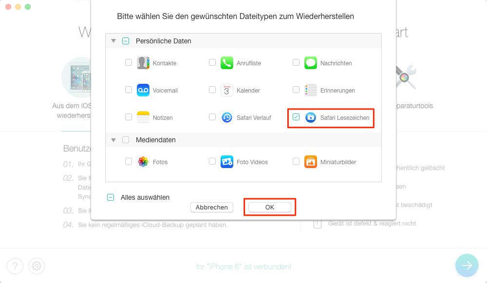 Safari Verlauf wiederherstellen iPhone 6 – Schritt 3