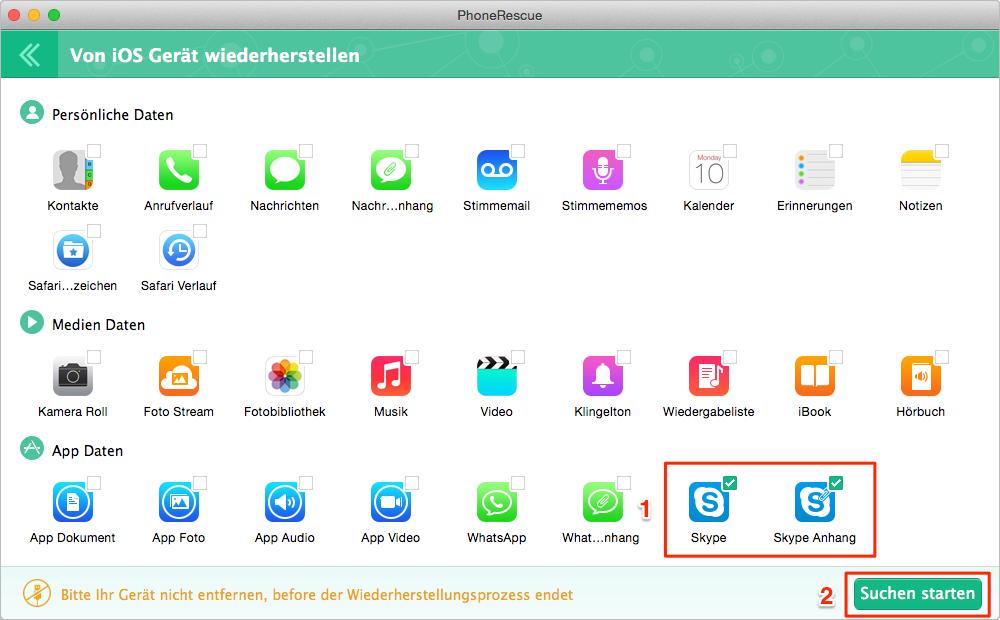 Man kann Skype und die Protokolle vom iPhone wiederherstellen - Schritt 2