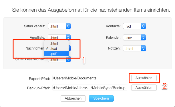 Format von SMS einstellen und Speicher-Pfad auswählen