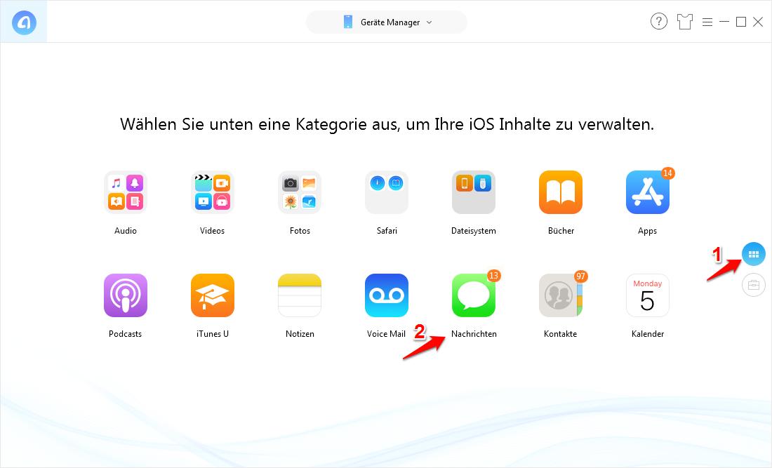 iPhone-Miteilungen auf dem iPhone oder den iCloud- oder iTunes-Backups ansehen
