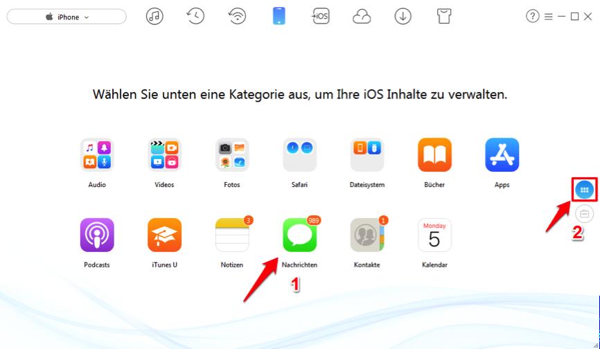 SMS drucken vom iPhone X/8/7 – AnyTrans verwenden