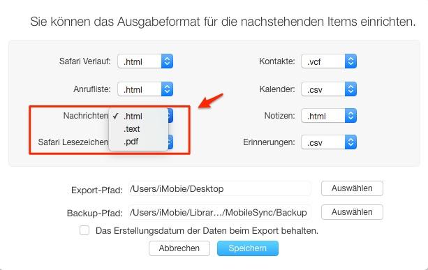 iPhone SMS Verlauf mit AnyTrans ausdrucken – Schritt 2