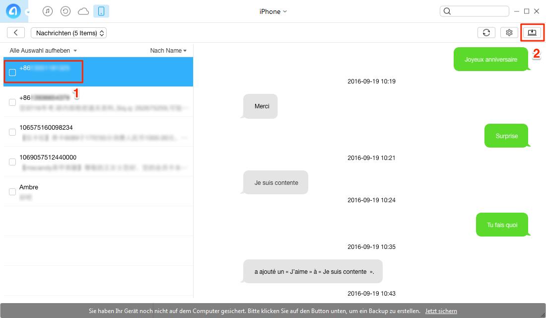 iPhone SMS Verlauf auf PC sichern - Schritt 3