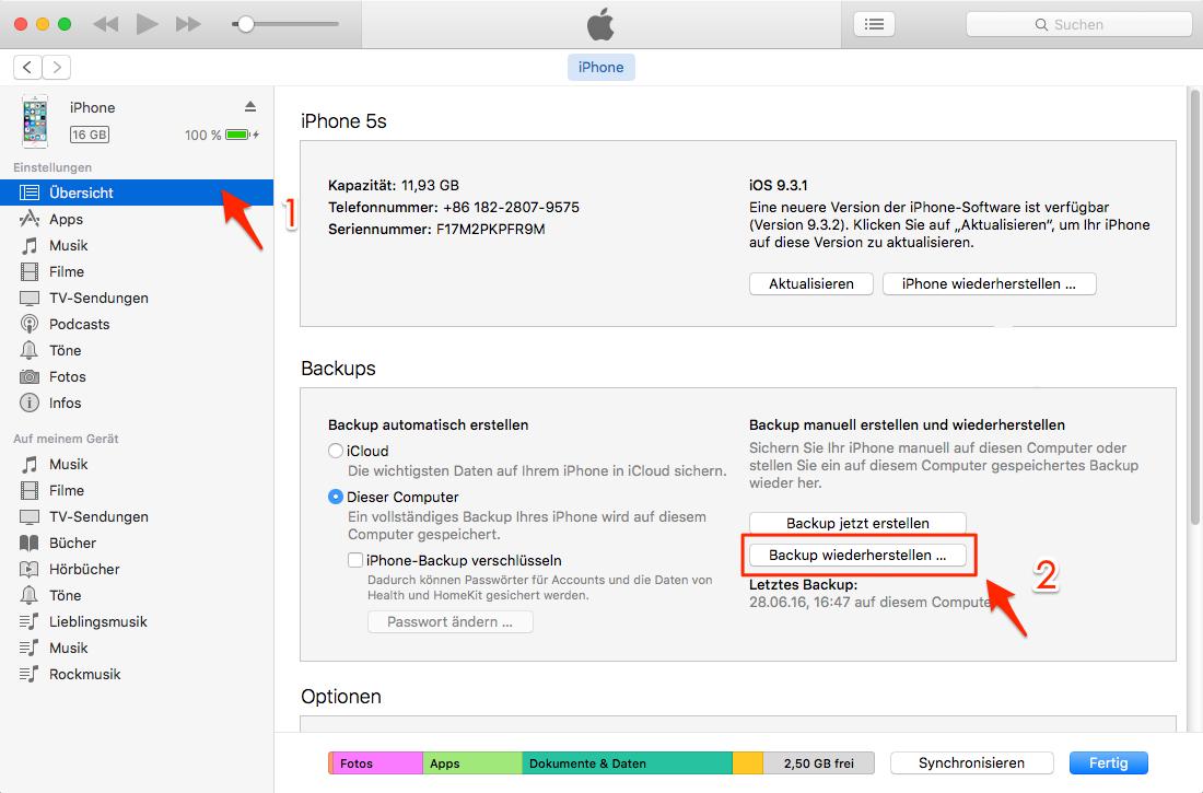 iPhone SMS verschwunden – mit iTunes-Backup