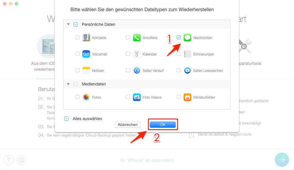 iPhone Nachrichten verschwunden - Schritt 2