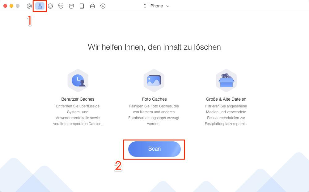 PhoneClean starten und Lösung auswählen – Schritt 1