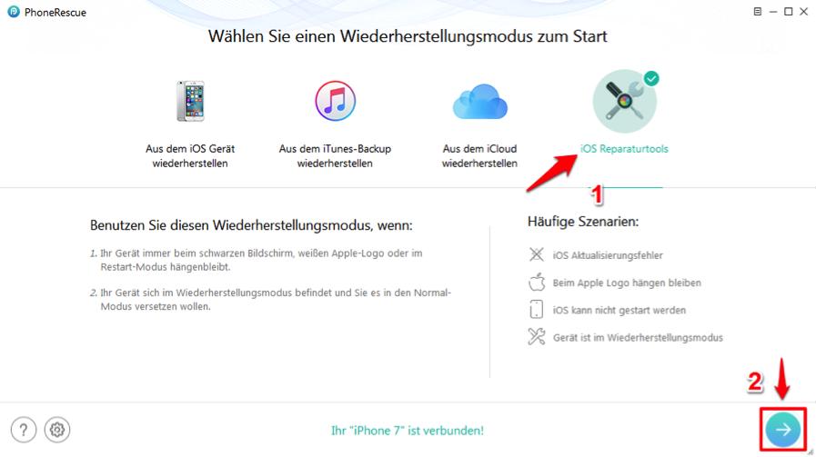 iPhone startet immer wieder neu unter iOS 12 – PhoneRescue verwenden