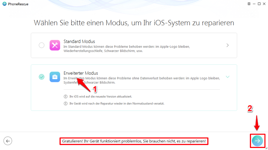 Keine Datenverlust Modus wählen – iPhone startet ständig neu
