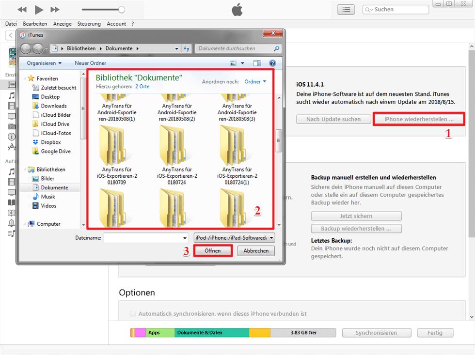 iPhone Update zurücksetzen über iTunes