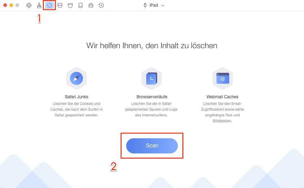"""PhoneClean starten und """"Internet Clean"""" auswählen – Schritt 1"""