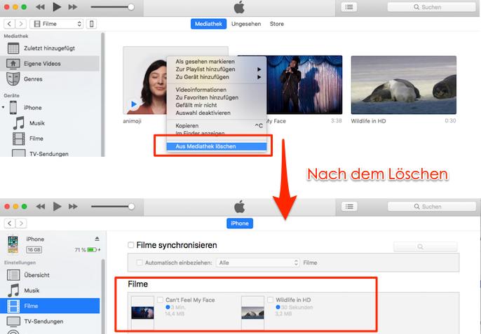 iPhone Videos löschen geht nicht - mit iTunes löschen