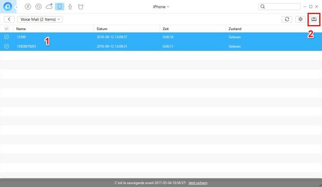 iPhone Voicemail sichern – Schritt 2
