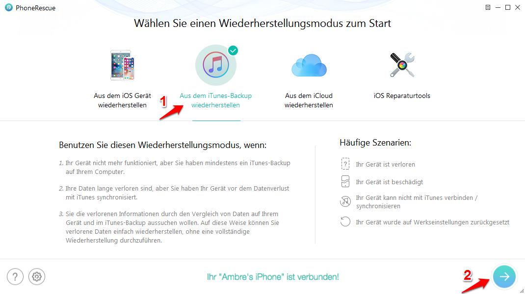 iPhone wiederherstellen dauer – Backup mit PhoneRescue wiederherstellen