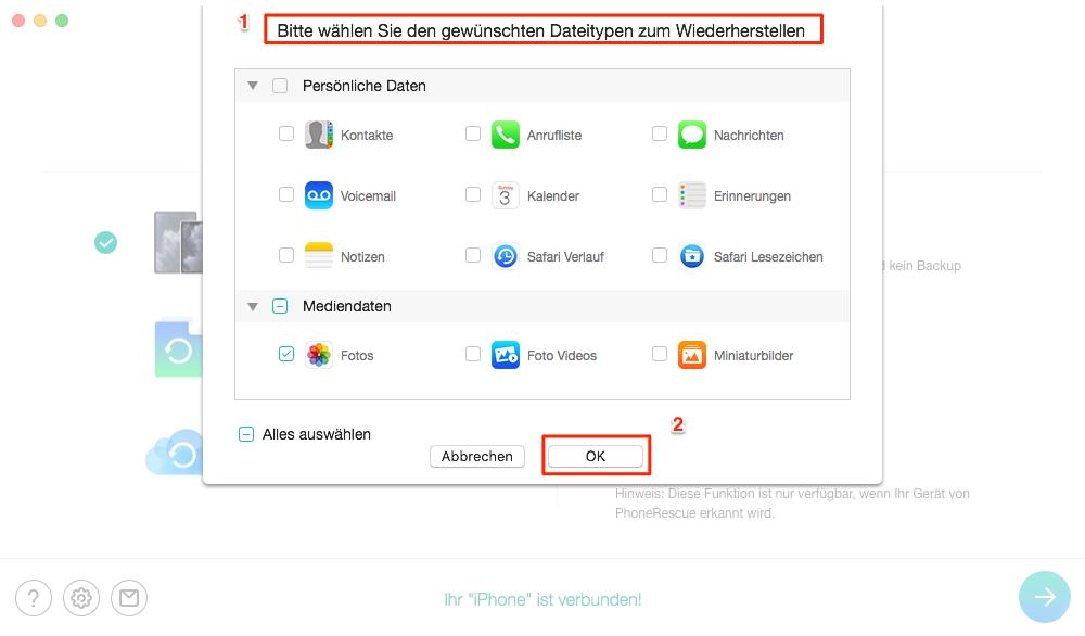 iPhone Dateitype auswählen - Schritt 2