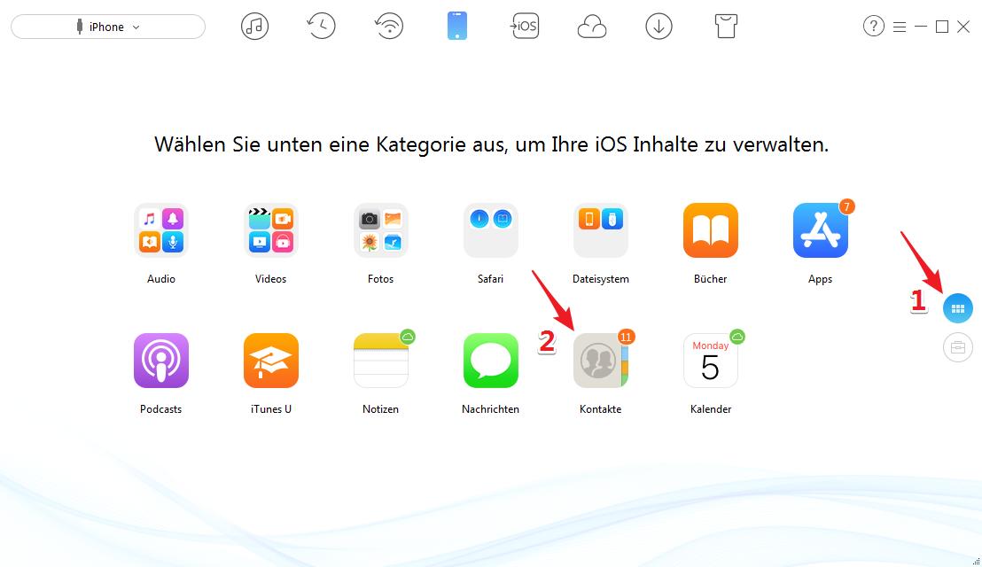 Alle Kontakte von iPhone X löschen - Schritt 2