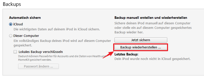 iPhone X Backup leciht wiederherstellen