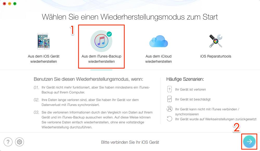 Backup von iPhone X wiederherstellen - Schritt 1