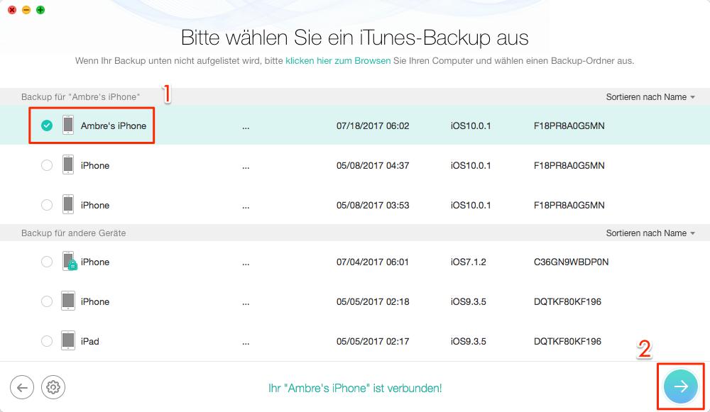 Backup von iPhone X einfach wiederherstellen - Schritt 2