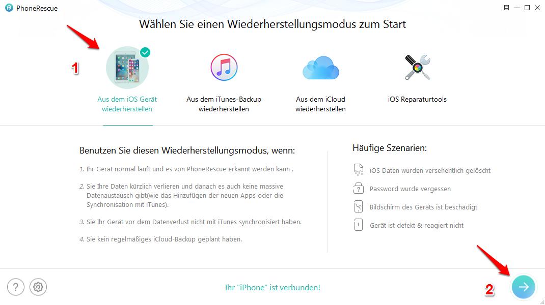 iPhone X gelöschte SMS wiederherstellen - Schritt 1