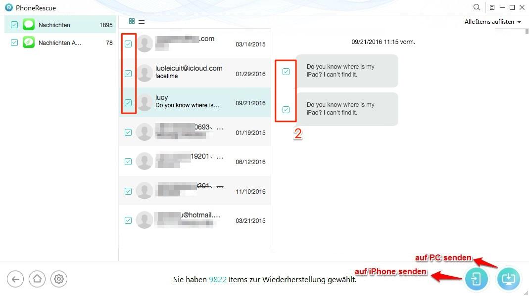 iPhone X gelöschte SMS einfach wiederherstellen - Schritt 2