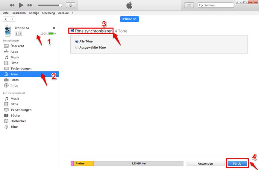 iPhone X Klingelton – mit iTunes synchronisieren
