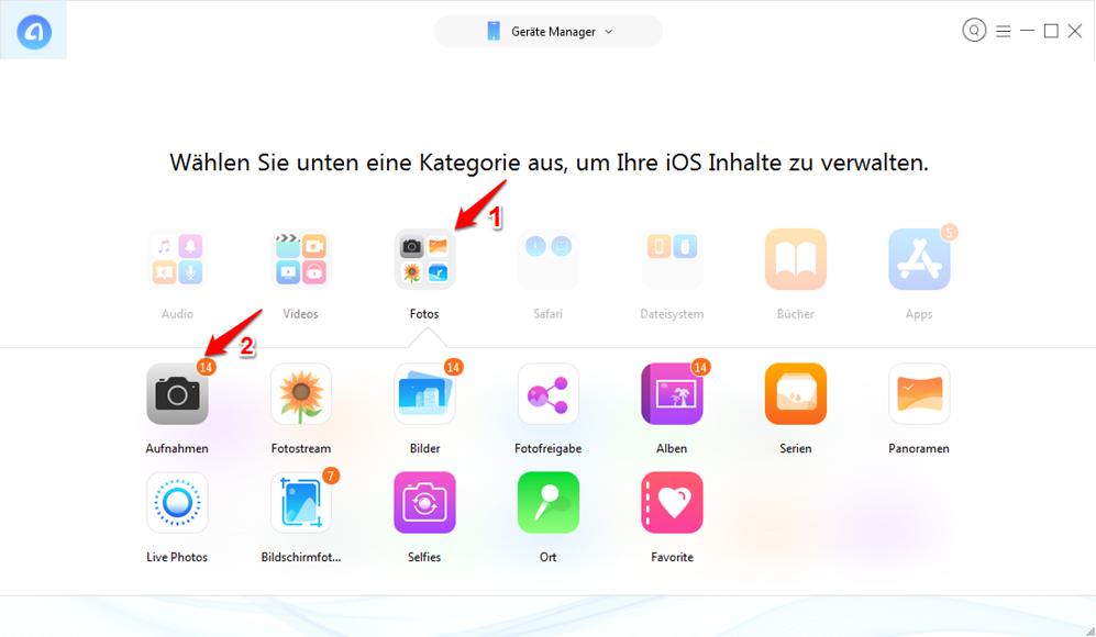iPhone Fotos nicht sichtbar auf PC/Mac – Schritt 2
