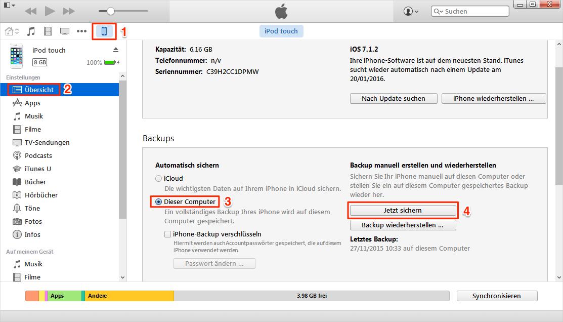 iPod Musik über iTunes auf PC sichern